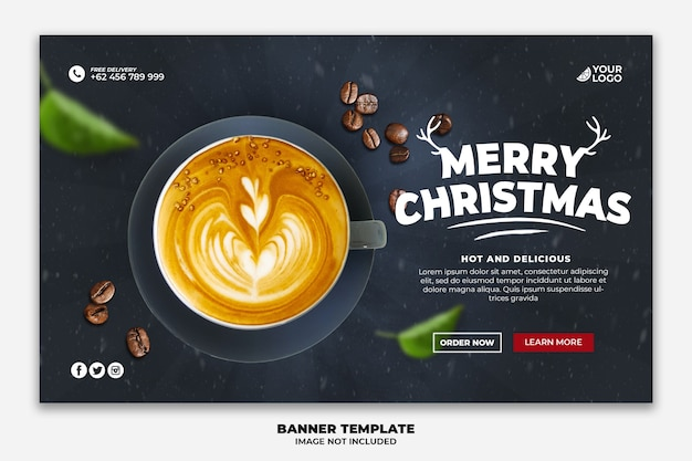 Banner da web de natal ou modelo de página de destino para restaurante de comida