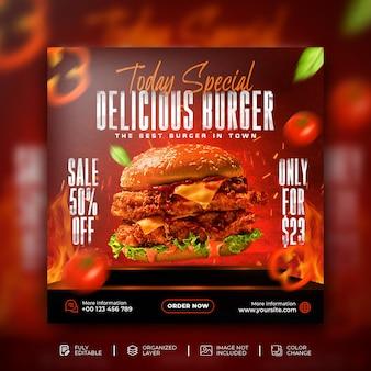 Banner da web do menu de comida deliciosa de hambúrguer e modelo de postagem do instagram para promoção nas redes sociais