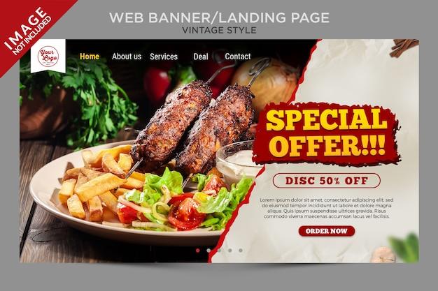 Banner da web em estilo vintage ou modelo de página de destino