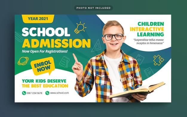 Banner da web para admissão na educação escolar e miniatura do youtube