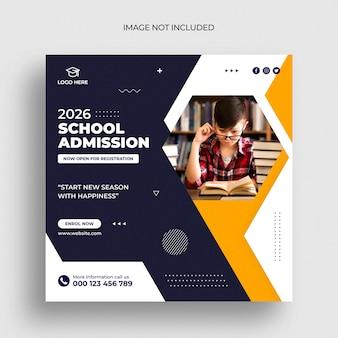 Banner da web para crianças na escola de admissão na mídia social e modelo de postagem de banner do instagram