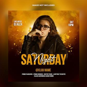 Banner da web para festa de dj noturno e modelo de postagem em mídia social