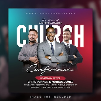 Banner da web para publicação de panfleto de conferência da igreja nas mídias sociais