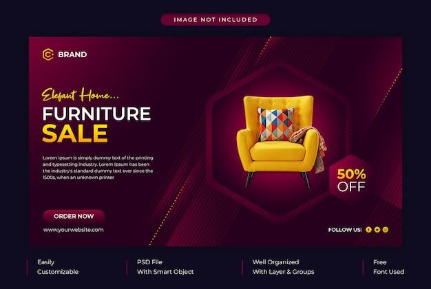 Banner da web promocional de venda de móveis para casa elegante ou modelo de banner de mídia social