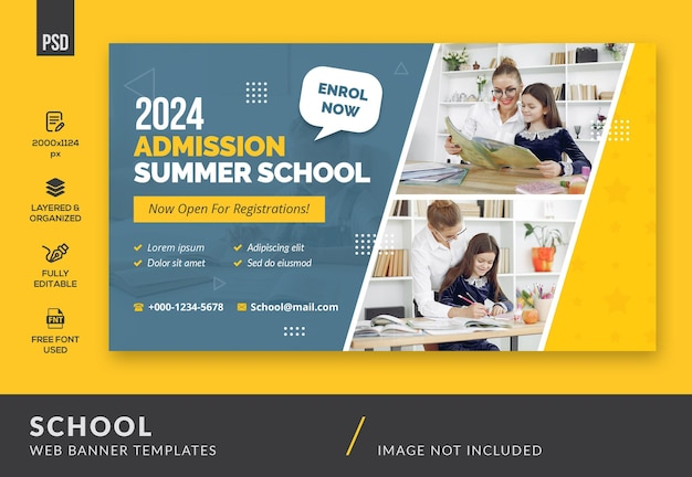 Banner da web sobre educação escolar