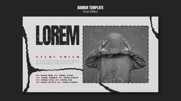 Banner de álbum de música com efeito de poeira e foto