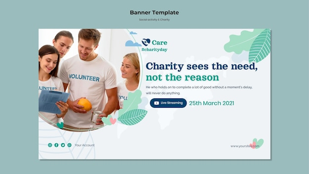 Banner de atividade social e caridade
