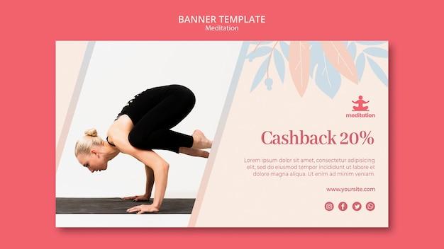 Banner de aulas de meditação com foto de mulher exercitando