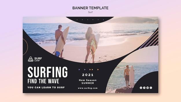 Banner de aulas de surf com foto