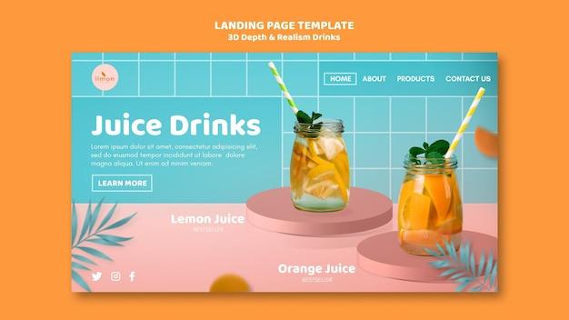 Banner de bebidas com profundidade e realismo 3d