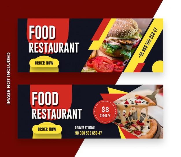 Banner de capa de facebook de comida de restaurante