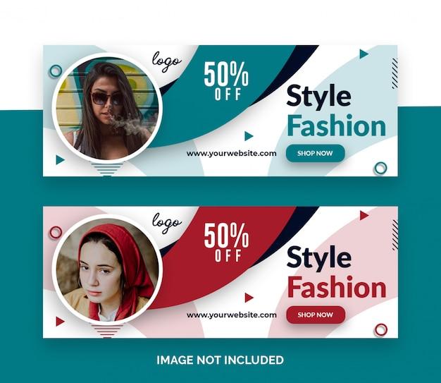Banner de capa de linha do tempo do facebook de venda de moda