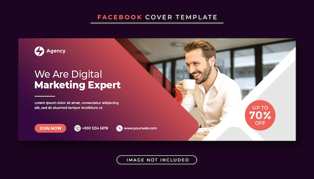 Banner de capa do facebook para promoção de marketing empresarial e digital
