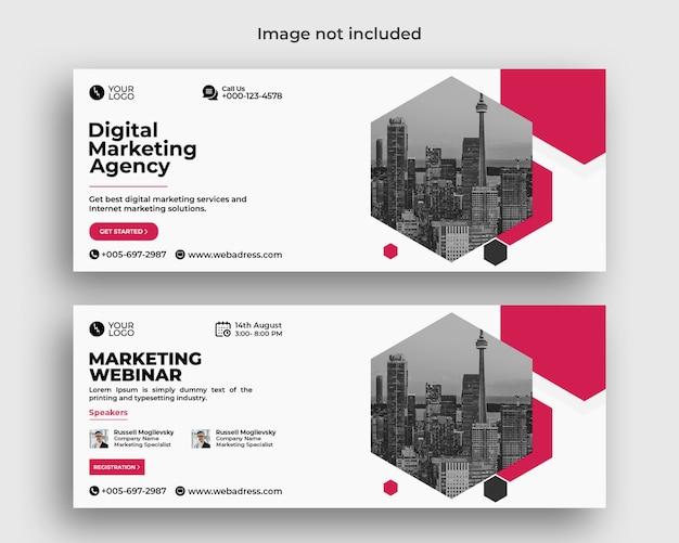 Banner de capa do facebook para webinar de negócios de marketing digital