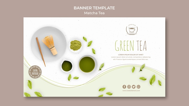 Banner de chá verde com modelo de fundo branco