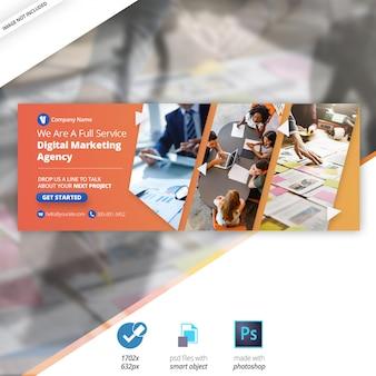 Banner de cobertura de linha do facebook de marketing empresarial