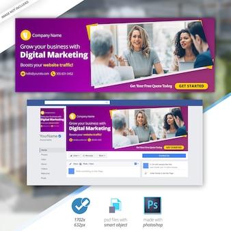 Banner de cobertura de linha do facebook de negócios de marketing