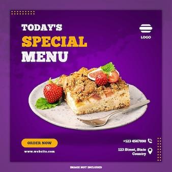Banner de comida de mídia social