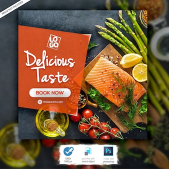 Banner de comida de restaurante