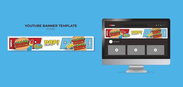 Banner de comida pop art no youtube