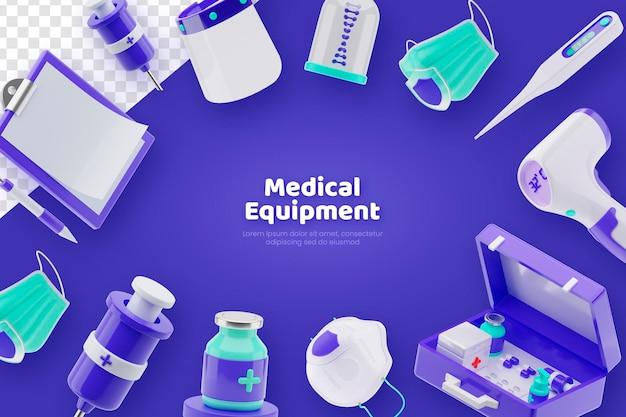 Banner de conceito de equipamento médico renderização 3d