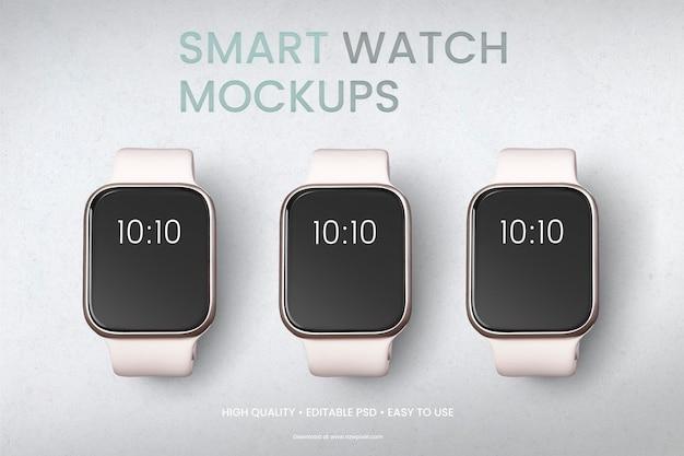 Banner de conjunto de dispositivo digital com tela smartwatch