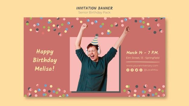 Banner de convite de aniversário sênior colorido