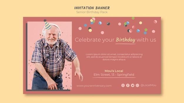 Banner de convite de aniversário sênior