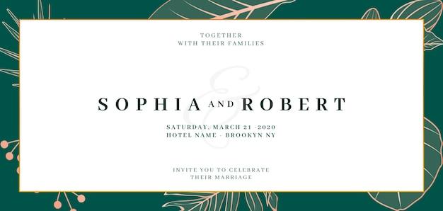 Banner de convite de casamento elegante com o conceito de natureza
