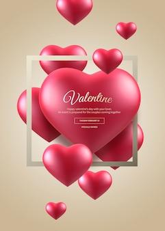 Banner de coração dia dos namorados com moldura quadrada