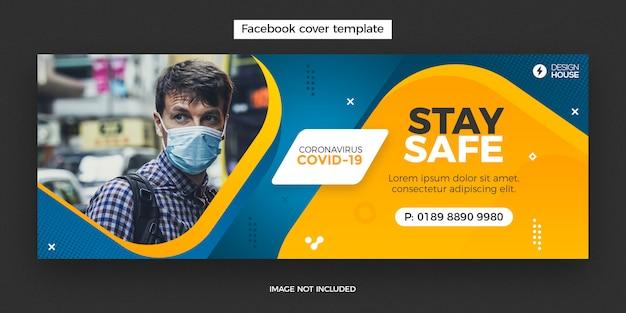 Banner de design de capa de facebook de coronavírus