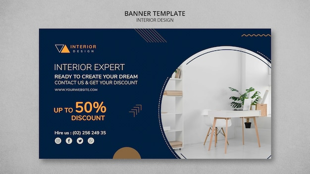 Banner de design de interiores com foto