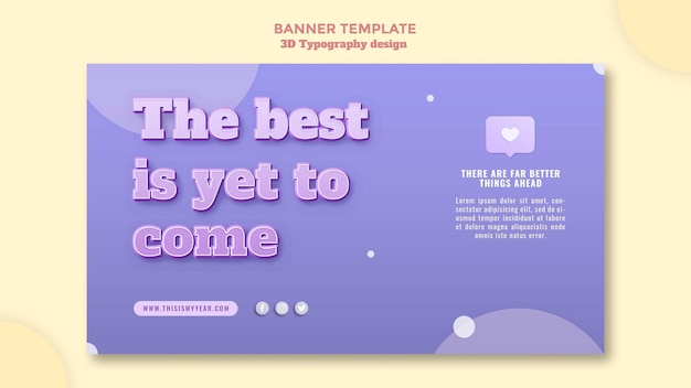 Banner de design de tipografia 3d