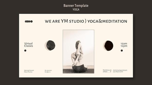 Banner de design incolor de aula de ioga