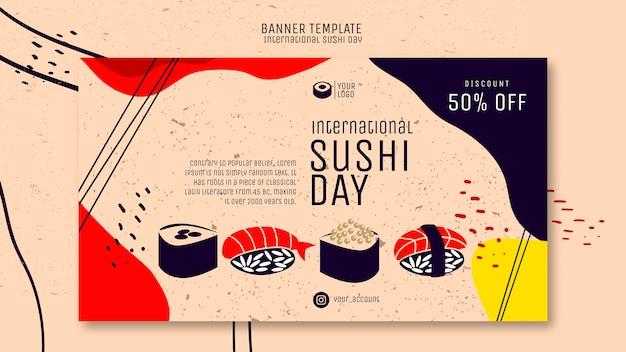 Banner de dia de sushi com desconto