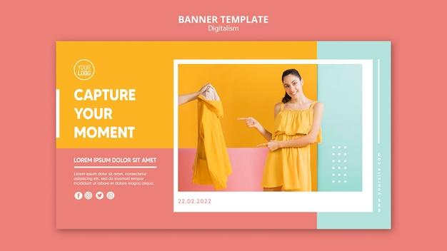 Banner de digitalismo colorido com foto de mulher