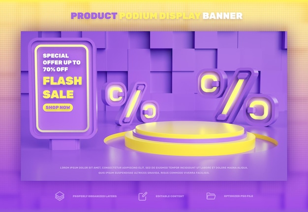 Banner de exibição de produto com desconto em pódio 3d para venda especial de venda flash e campanha de super mega venda