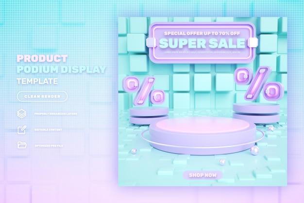Banner de exibição de produto de pódio rosa 3d com desconto em venda especial e super mega venda