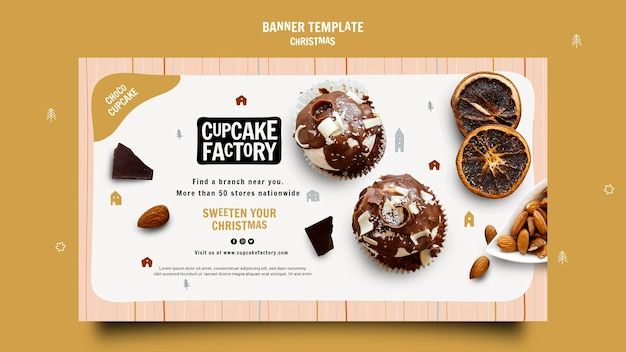Banner de fábrica de cupcake de natal
