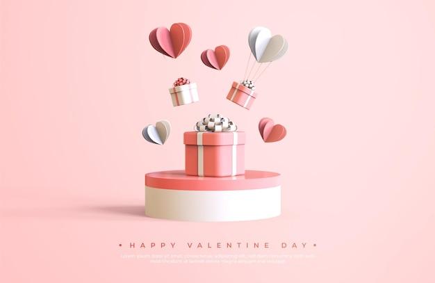 Banner de feliz dia dos namorados com renderização de objetos 3d