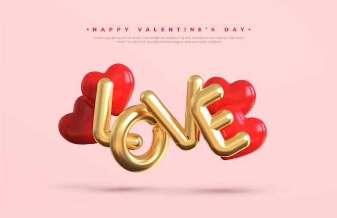 Banner de feliz dia dos namorados com texto metálico dourado 3d