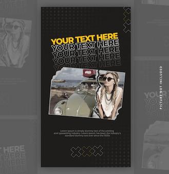 Banner de história de instagram de papel cortado modelo com efeito de texto