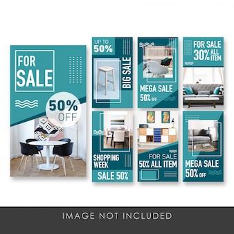 Banner de história para o modelo de coleção de móveis de venda
