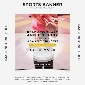 Banner de instagram de desconto de esportes