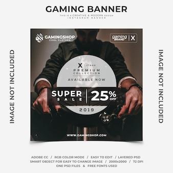 Banner de instagram de desconto de moda gamer