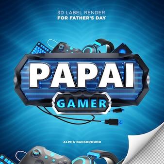 Banner de jogador pai no brasil design de renderização em 3d