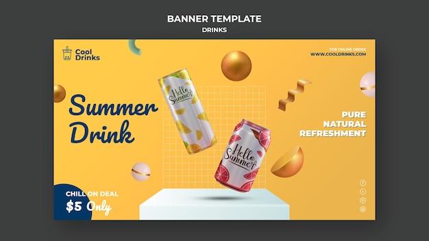Banner de latas de puro refresco de bebidas de verão