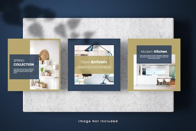 Banner de maquete de mídia social de design de interiores mínimo