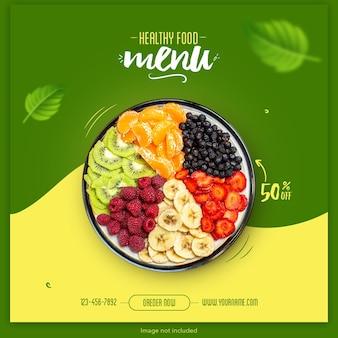 Banner de menu de comida saudável