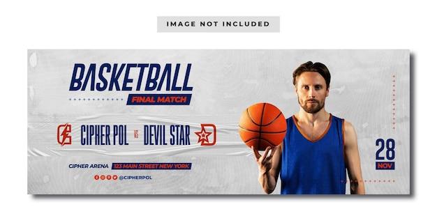 Banner de mídia social da partida final de esporte de basquete
